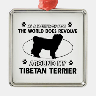 Funny tibetan terrier designs metal ornament