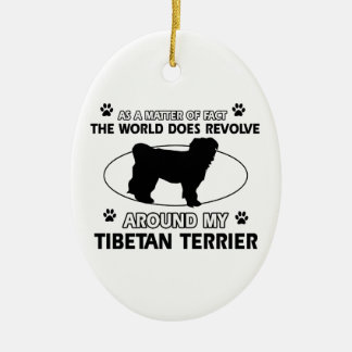 Funny tibetan terrier designs Double-Sided oval ceramic christmas ornament