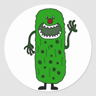 Funny Tickle Monster Cartoon Classic Round Sticker