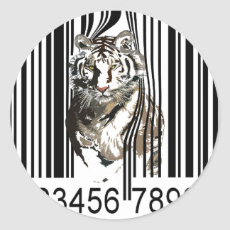 Funny tiger barcode vector classic round sticker
