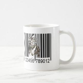 Funny tiger barcode vector coffee mug