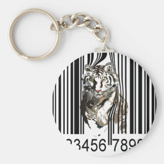 Funny tiger barcode vector keychain