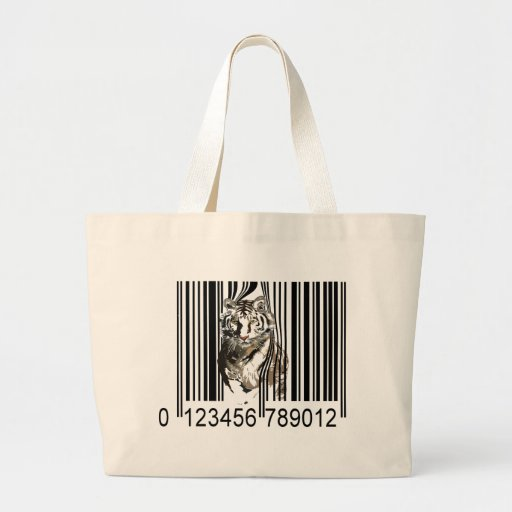 Funny tiger barcode vector large tote bag