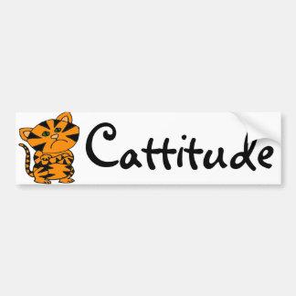 Funny Tiger Cat with Atitude Bumper Sticker