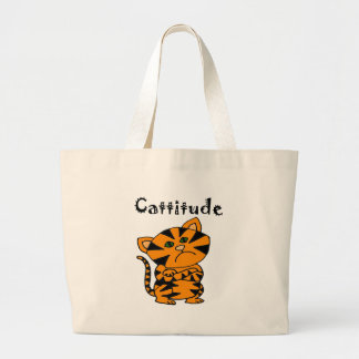 Funny Tiger Cat with Atitude Large Tote Bag
