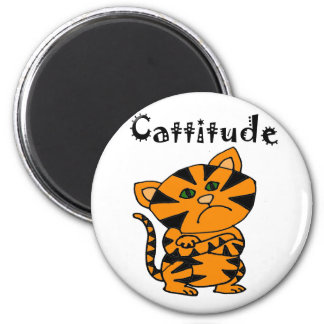 Funny Tiger Cat with Atitude Magnet