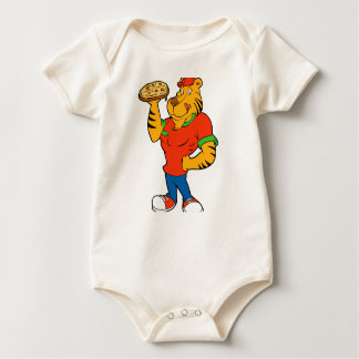 Funny tiger  holding up a pizza baby bodysuit