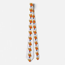 Funny tiger  holding up a pizza neck tie