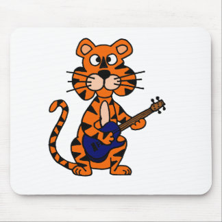 Funny Tiger Playing Blue Electric Guitar Mouse Pad