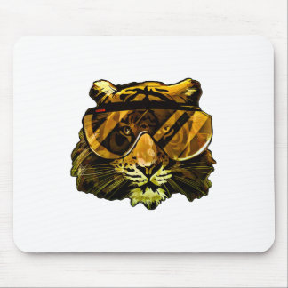 Funny Tiger with Glasses Mouse Pad
