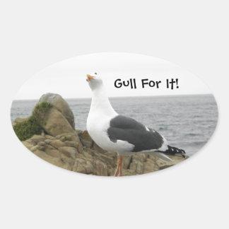 Funny Tilt Head Seagull Oval Sticker