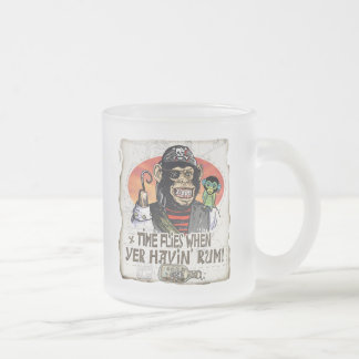 Funny Time Flies when yer having Rum Frosted Glass Coffee Mug