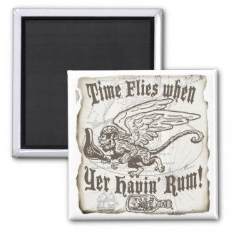 Funny Time Flies when yer having Rum 2 Inch Square Magnet