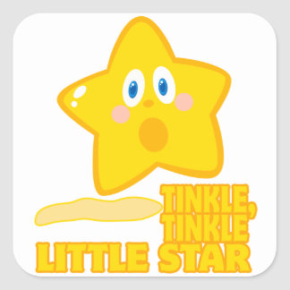 funny tinkle tinkle little star square sticker