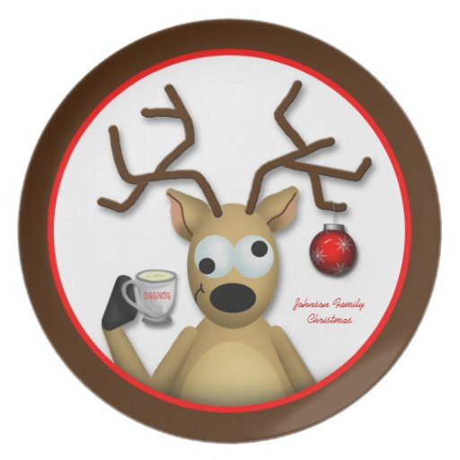 """Funny Tipsy Reindeer Christmas 10"""" Dinner Plate from Zazzle."""