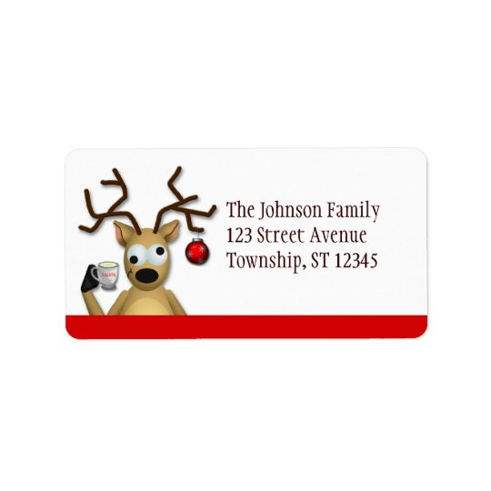 Funny Tipsy Reindeer - Christmas Address Labels