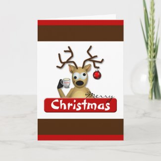 Funny Tipsy Reindeer Christmas Greeting Card card