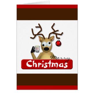 Funny Tipsy Reindeer Christmas Greeting Card
