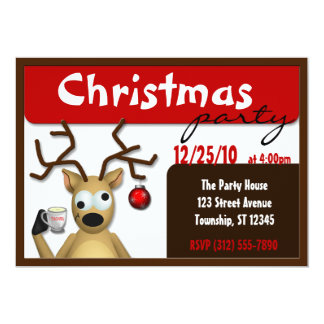 Funny Tipsy Reindeer Christmas Invitations