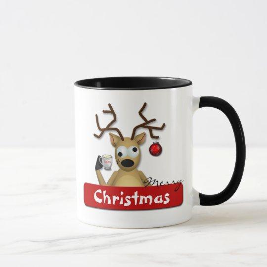 Funny Tipsy Reindeer Merry Christmas Holiday Mug