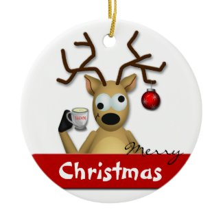 Funny Tipsy Reindeer Merry Christmas Tree Ornament