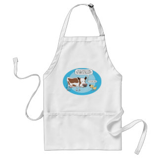 Funny Tired of Cud Cow With Dog Apron