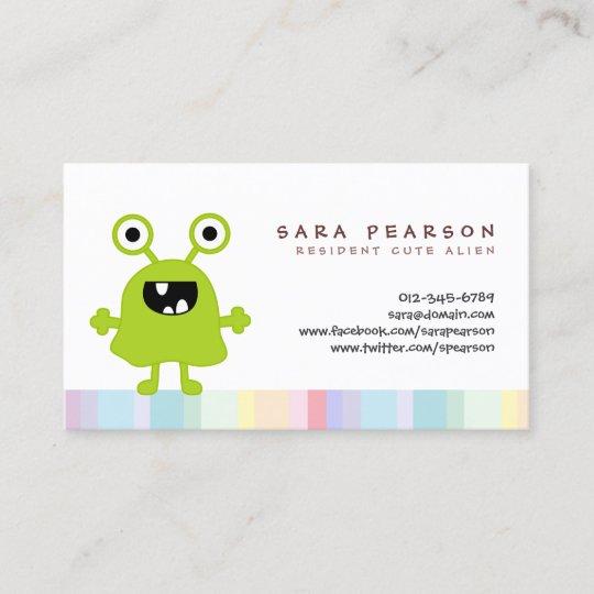Funny Title Cute Greenmonster Alien Kids Name Card Zazzle