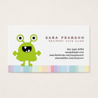 Funny Title Cute GreenMonster Alien Kids Name Card