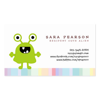 Funny Title Cute GreenMonster Alien Kids Name Card Double-Sided Standard Business Cards (Pack Of 100)