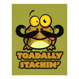 "funny toadally stachin toad with a mustache 8.5"" x 11"" flyer"