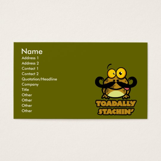 funny toadally stachin toad with a mustache business card