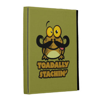 funny toadally stachin toad with a mustache iPad case