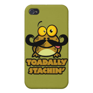 funny toadally stachin toad with a mustache covers for iPhone 4