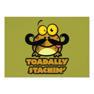 funny toadally stachin toad with a mustache custom invitations