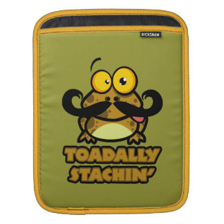 funny toadally stachin toad with a mustache sleeves for iPads