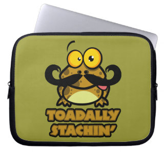 funny toadally stachin toad with a mustache laptop computer sleeve