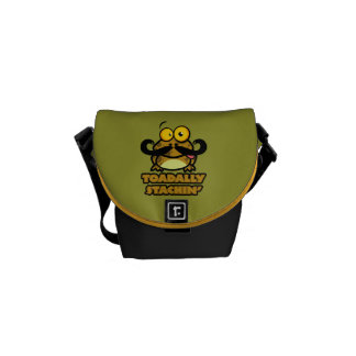 funny toadally stachin toad with a mustache messenger bags