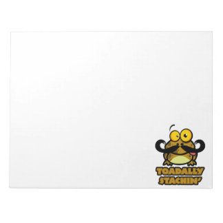funny toadally stachin toad with a mustache notepads