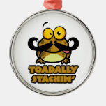 funny toadally stachin toad with a mustache ornaments