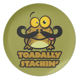 funny toadally stachin toad with a mustache party plate
