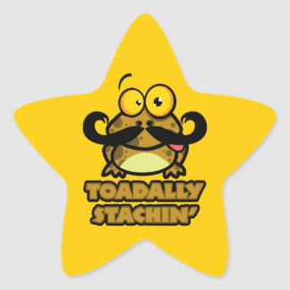 funny toadally stachin toad with a mustache stickers