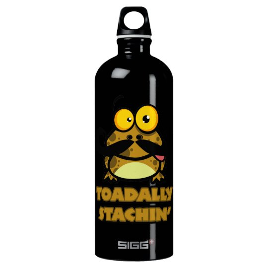 funny toadally stachin toad with a mustache water bottle