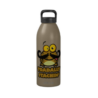 funny toadally stachin toad with a mustache drinking bottles