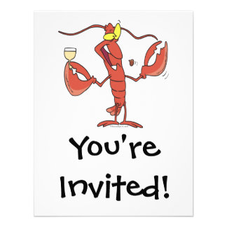 funny toasting lobster cartoon announcement