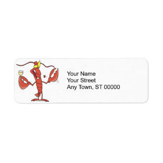 funny toasting lobster cartoon label