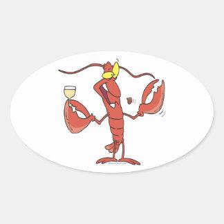 funny toasting lobster cartoon oval sticker