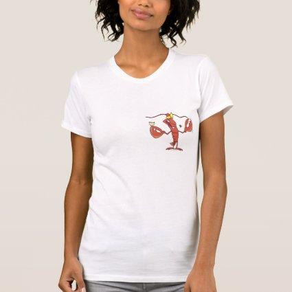 funny toasting lobster cartoon tee shirt
