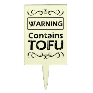 Funny TOFU Warning Cake Toppers
