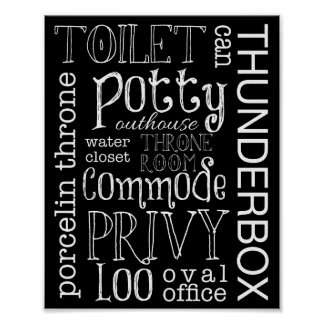 Funny Toilet Bathroom Sign Poster Print