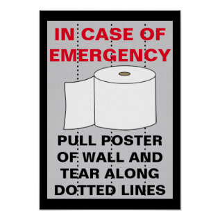 Funny Toilet Paper Bathroom Poster at Zazzle